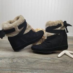 Aldo hidden platform suede booties faux fur Sz 38